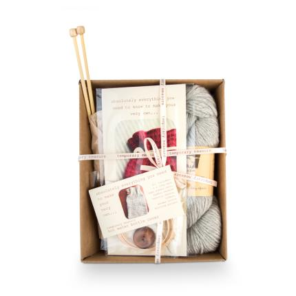 Stationery & Craft - Hot Water bottle Knitting Kits - Soft Grey - Image 1