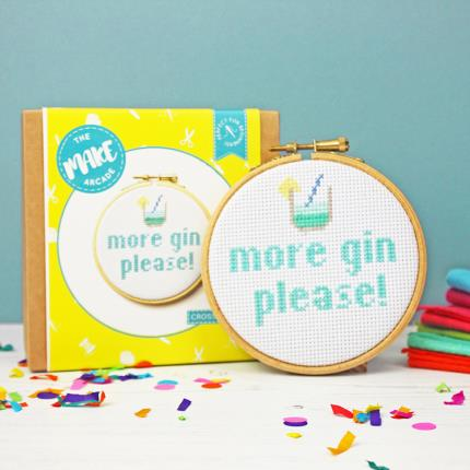 Stationery & Craft - More Gin Please Cross Stitch Kit - Image 2