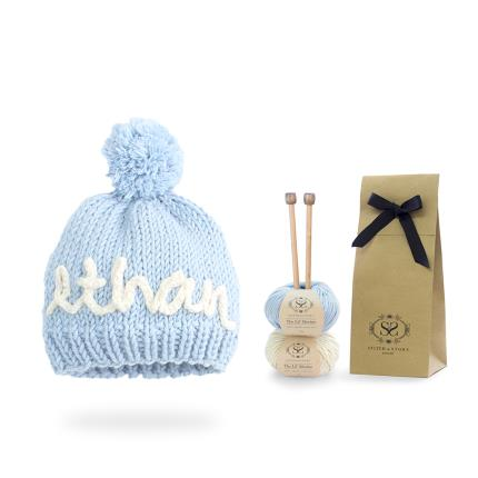 Toys & Games - Personalised Mini Blue Hat Knit Kit - Image 3