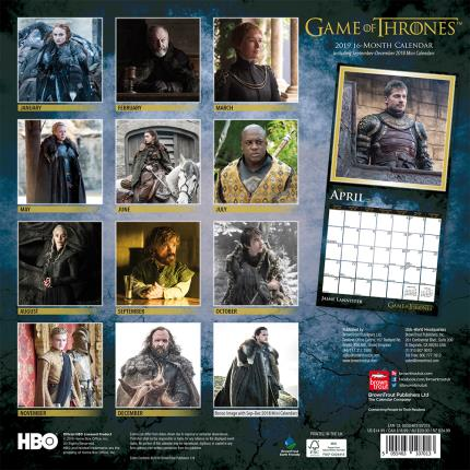 Stationery & Craft - Game of Thrones 2019 Square Wall Calendar - Image 2