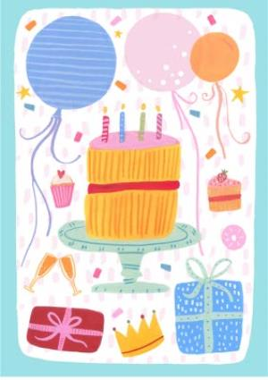 Greeting Cards - Birthday Cake Card - Party - Balloons - Image 1
