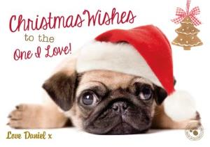 Greeting Cards - Little Pug With Santa Hat Personalised Merry Christmas Card - Image 1
