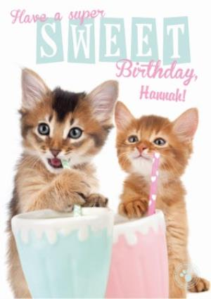 Greeting Cards - Kitties And Milkshakes Happy Birthday Card - Image 1