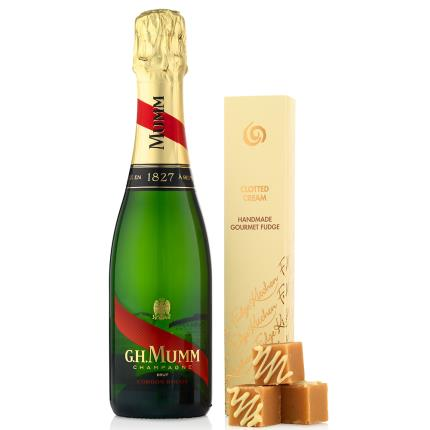 Food Gifts - Mumm Champagne 37.5cl and Fudge Kitchen Clotted Cream Gift Set - Image 1