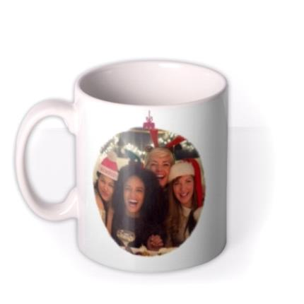 Mugs - Merry Christmas Red Bauble Photo Upload Mug - Image 1