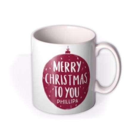 Mugs - Merry Christmas Red Bauble Photo Upload Mug - Image 2