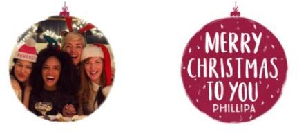 Mugs - Merry Christmas Red Bauble Photo Upload Mug - Image 4