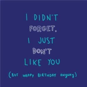 Greeting Cards - I Didnt Forget, I Just Dont Like You Belated Birthday Card - Image 1