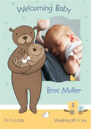 Greeting Cards - Bear Cuddles New Baby Photo Card - Image 1