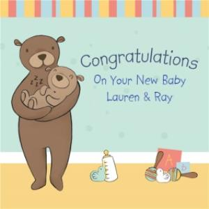Greeting Cards - Bear Cuddles Personalised Congrats New Baby Card - Image 1