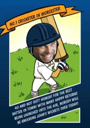 Greeting Cards - Birthday Card - Face In The Hole - Male - Photo Upload - Sport - Cricket - Image 1