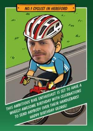 Greeting Cards - Birthday Card - Face In The Hole - Male - Photo Upload - Sport - Cycling - Image 1