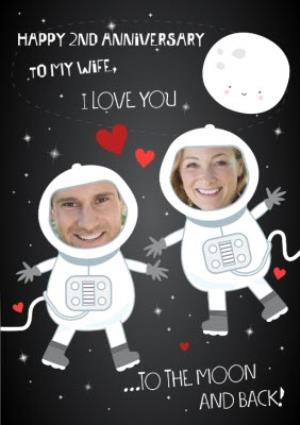 Greeting Cards -  Love You To The Moon And Back Photo Upload Anniversary Card for Wife - Image 1