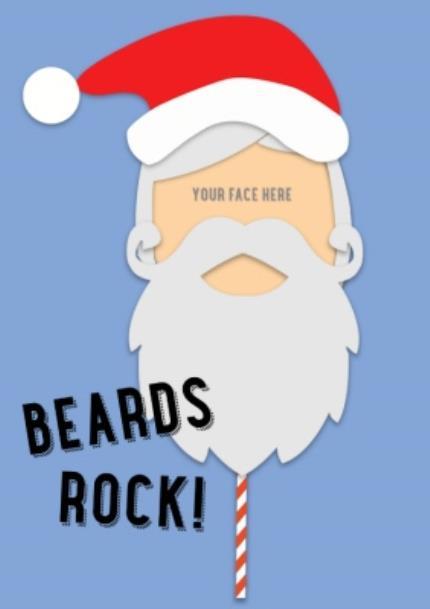 T-Shirts - Merry Christmas Santa Beards Rock Photo Upload T-shirt - Image 4