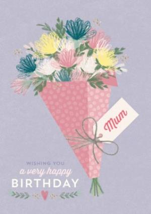 Multi Coloured Flower Bouquet Happy Birthday Mum Card
