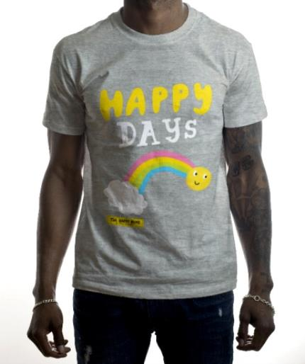 T-Shirts - The Happy News Happy Days Rainbow Grey T-Shirt - Image 2