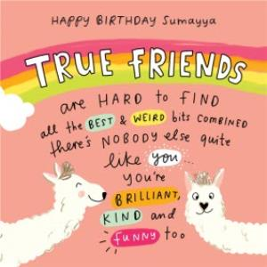 Greeting Cards - Emily Coxhead The Happy News Alpaca Llama True Friend Best Friends Birthday card - Image 1