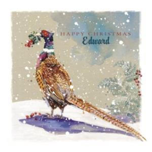 Greeting Cards - Ling Design Personalised Christmas Card With Pheasant - Image 1