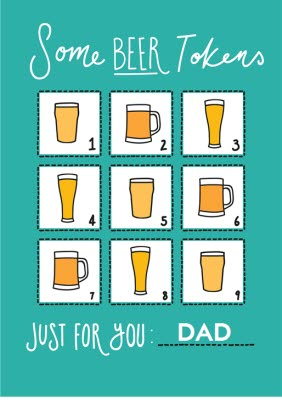 Beer Tokens Happy Fathers Day Card Moonpig