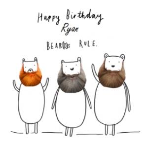 Greeting Cards - Beards Rule Personalised Birthday Card - Image 1