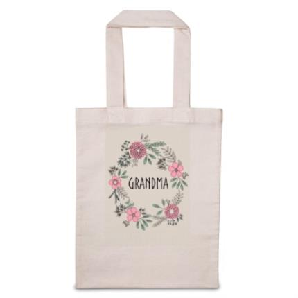 Gifts For Home - Personalised Grandma Floral Tote Bag - Image 1