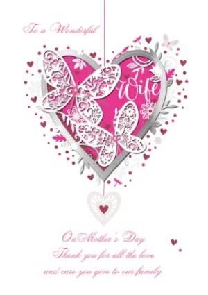 Greeting Cards - Big Pink Heart And Butterflies To A Wonderful Wife On Mothers Day Card - Image 1