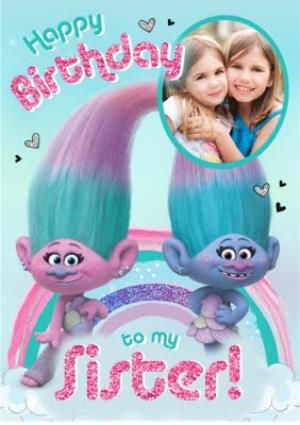 Greeting Cards - Birthday card - sister - Trolls - Satin and Chenille - photo upload card - Image 1