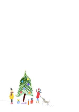 Greeting Cards - Illustrated Winter Village Photo Upload Christmas Card - Image 2