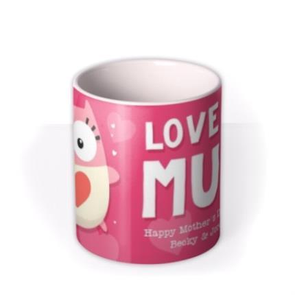 Mugs - Mother's Day Love You Mum Pink Personalised Text Mug - Image 3