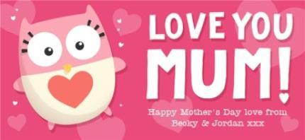 Mugs - Mother's Day Love You Mum Pink Personalised Text Mug - Image 4