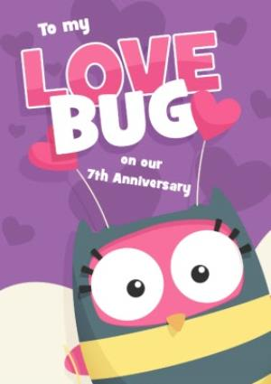 Greeting Cards - Love Bug Personalised Happy 7th Anniversary Card - Image 1