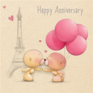 Greeting Cards - Bear With Balloons At Eiffel Tower Personalised Happy Anniversary Card - Image 1