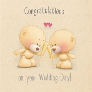 Greeting Cards - Bears With Champagne Flutes Congratulations Personalised Wedding Card - Image 1