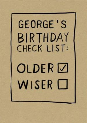 Greeting Cards - Birthday Check List Card  - Image 1