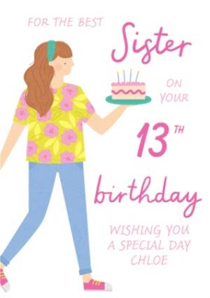 Greeting Cards - Best Sister 13th Birthday Cake Card - Image 1