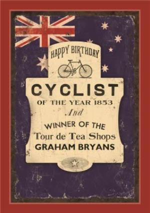 Greeting Cards - Australias Cyclist Of The Year Personalised Card - Image 1