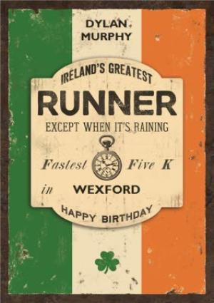 Greeting Cards - Irelands Greatest Runner Personalised Card - Image 1