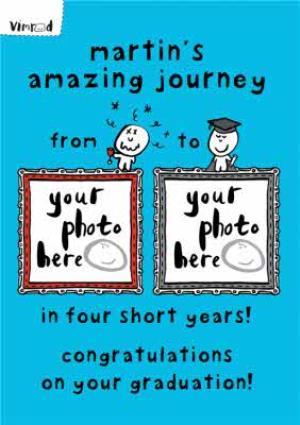 Greeting Cards - Amazing Journey Personalised Photo Upload Congratulations Graduation Card - Image 1