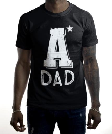 T-Shirts - Father's Day A* Dad Black Personalised T-shirt - Image 2