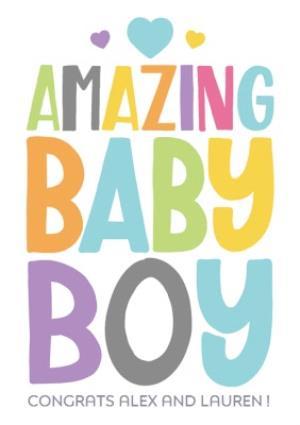 Greeting Cards - Amazing Baby Boy Personalised Card - Image 1