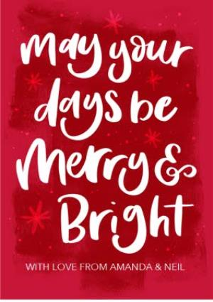 Greeting Cards - Be Merry And Bright Red Personalised Christmas Card - Image 1