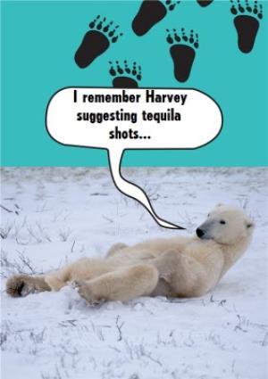 Greeting Cards - I Remember Suggesting Shots Polar Bear Personalised Birthday Card - Image 1