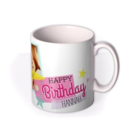 Mugs - Happy Birthday Pink Tag Photo Upload Mug - Image 2