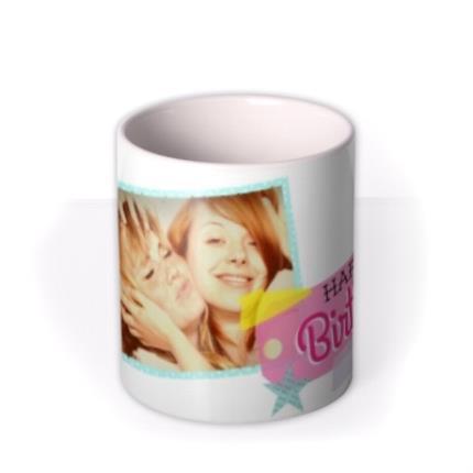 Mugs - Happy Birthday Pink Tag Photo Upload Mug - Image 3