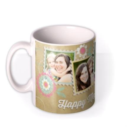 Mugs - Mother's Day Brown Paper Collage Photo Upload Mug - Image 1