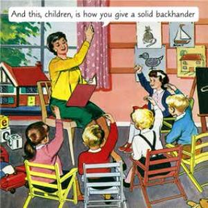 Greeting Cards - Backhander Lesson Vintage Artwork Card - Image 1