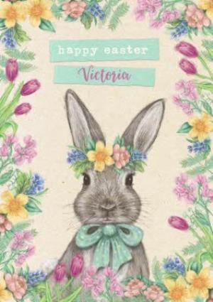 Greeting Cards - Easter bunny - Floral Easter Card - Happy Easter  - Image 1