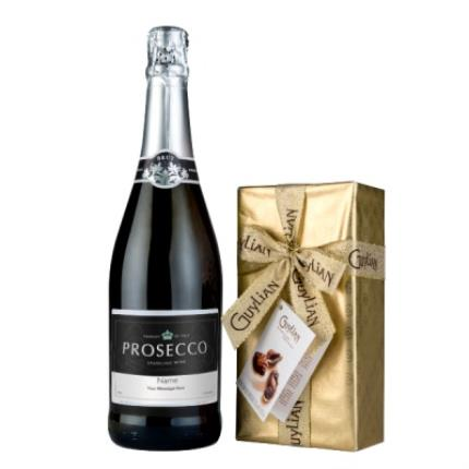Alcohol Gifts - Personalised Prosecco 75cl & Guylian Chocolate Gift Set - Image 1