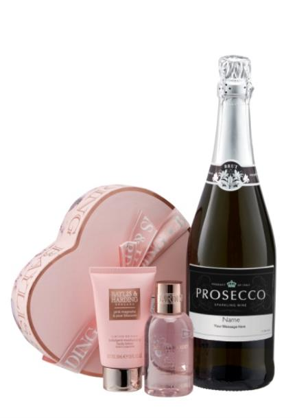 Alcohol Gifts - Personalised Prosecco With Small Heart Gift Set WAS - Image 1