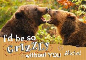 Greeting Cards - I'd Be So Grizzly Without You Personalised Happy Anniversary Card - Image 1